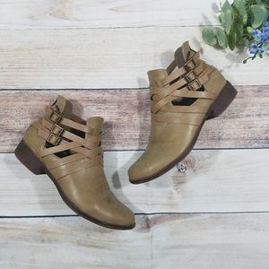 JustFab tan ankle booties